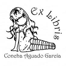 EX LIBRIS NIÑA SENTADA
