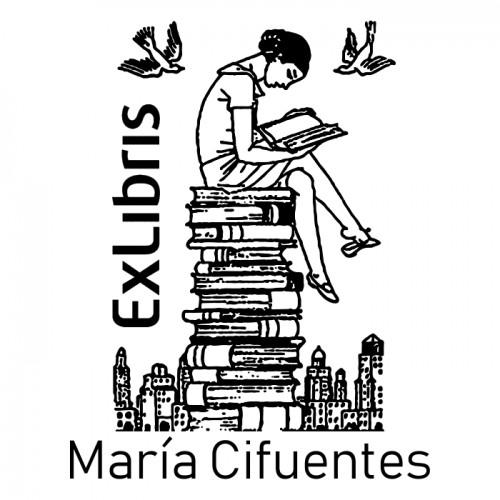 Ex Libris Mujer Leyendo