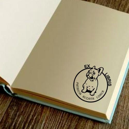 Sello libro bulldog ingles