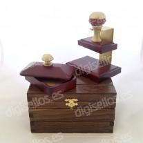 Scatola di legno per supporto per timbri Decodesk