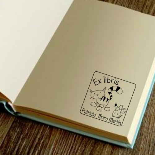Sello libro gato y ratón
