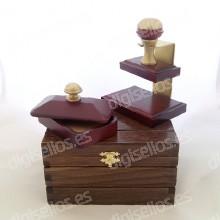 Caixa de madeira para Decodesk titular selo