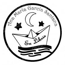 Carimbo Ex Libris Gato sob a Lua