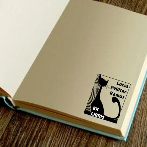 Sello libro gato negro