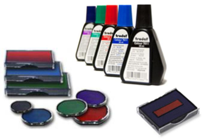 Almohadillas y botes de tintas para uso en sellos trodat